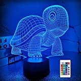 FULLOSUN 3D Night Light, Lovely Turtle Baby Nightlight for Bedroom,Remote Control 16 Color Change Illusion Decor Lamp Unique Gift for Kids Teen Girls