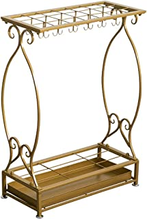 Yxsd Matt Golden Cast Iron Umbrella Stand with Hooks and Drip Tray Walking Stick Stand Square (Size : L)