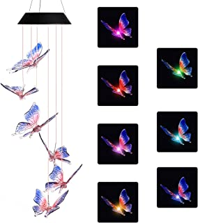 DOUBLEZHE Blue Butterfly Wind Chime Light Solar Powered Waterproof LED Wind Chime Color Changing for Outdoor Patio Garden Home