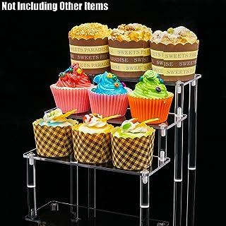 gabinete mostradores HIIMIEI 1 Paquete de Estante de exhibici/ón Vertical de acr/ílico para Figuras Amiibo Funko Pop 9 /× 6 Pulgadas Base para Cupcakes para Mesa 3 Niveles Transparente