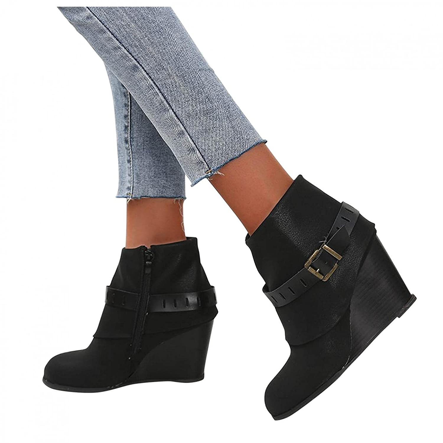 famous Reokoou Boots for Women Women's Buckle Max 79% OFF Round Toe Leather Strap