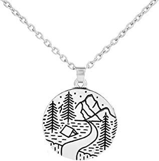 (Style 2) - Fishhook Tree, Star, Moon,Mountain and Sunset Pattern Outdoors Scenery Romantic Gift Necklace