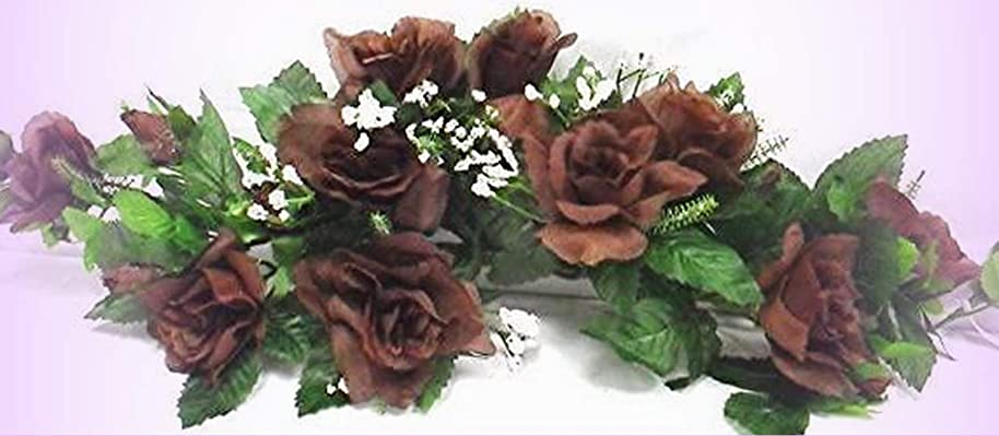 Inna-Wholesale Art Crafts New Rose Swag Dark Chocolate Brown Silk Centeripece Decorating Flowers Arch Gazebo DIY - Perfect for Any Wedding, Special Occasion or Home Office D?cor