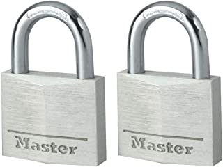 Master Lock 9140EURT Pack of 2 Key Padlocks in Aluminium, Grey, 4 x 5.9 x 1.3 cm