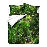 Hiser Bettwäsche-Set 3 Teilig Wald Drucken Bettwäsche Set - Mikrofaser Bettbezug & Kissenbezug - 3D Bedrucktes Erwachsene Kinder Bettwäsche-Set (Tropischer Dschungel,135x200cm)