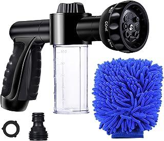 Garden Hose Nozzle, High Pressure Hose Spray Nozzle 8 Way Spray Pattern with 3.5oz/100cc Soap Dispenser Bottle Snow Foam G...