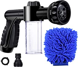 EVILTO Garden Hose Nozzle, High Pressure Hose Spray Nozzle 8 Way Spray Pattern with 3.5oz/100cc Soap Dispenser Bottle Snow Foam Gun for Watering Plants, Lawn, Patio, Car Wash, Cleaning,Showering Pet