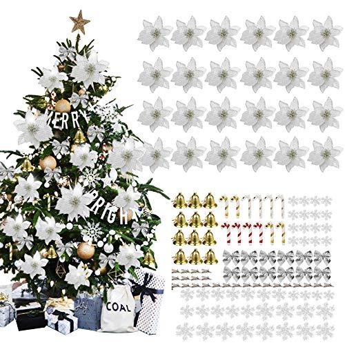 MMTX 120 Adorno de Árbol de Navidad, Flores Artificiales de Navidad con Purpurina Plateada, Copos de Nieve, Lazos, Campanas, Bastones pequeños para Decoraciones de árboles de Navidad