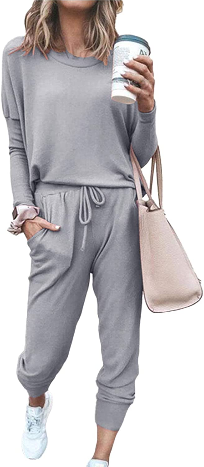 Womens Casual Home 2 Piece Outfits Print Long Sleeve Crewneck Pullover Drawstring Pants Set Tracksuit