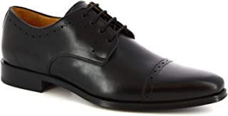 Leonardo Shoes Scarpe Derby Stringate da Uomo Artigianali Pelle di Vitello Nera - Codice Modello: 6151I18 Tom. Oxford Nero