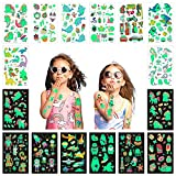 16 Sheets Temporary Tattoos for Kids Glow in The Dark Tattoos Animal、Unicorn、Mermaid、Universe、Shark、Dinosaur、Pirate、Butterflies, award stickers glow in the dark, party makeup gifts for boys and girls