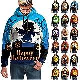 NHNKB Sudadera con capucha para hombre, diseño de Halloween, F azul., XXXXL