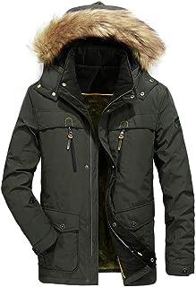 Sunward Coat for Men,Mens Winter Medium Length Zipper Symmetrical Pocket Thickened Hoodie Cotton Coat