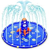 """Splash Pad for Kids, 70"""" Large Unique Inflatable Splash Pad Sprinkler with Rocket Spray Water, Fun Blue Backyard Fountain Play Mat for Toddlers Learning Wading Pool Summer Outdoor Splash Water Toy"""
