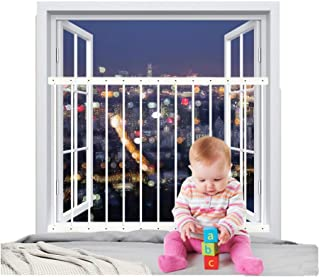 "Fairy Baby Hole-Free Installation Child Safety Window Guard White,36.22""-61.41"""