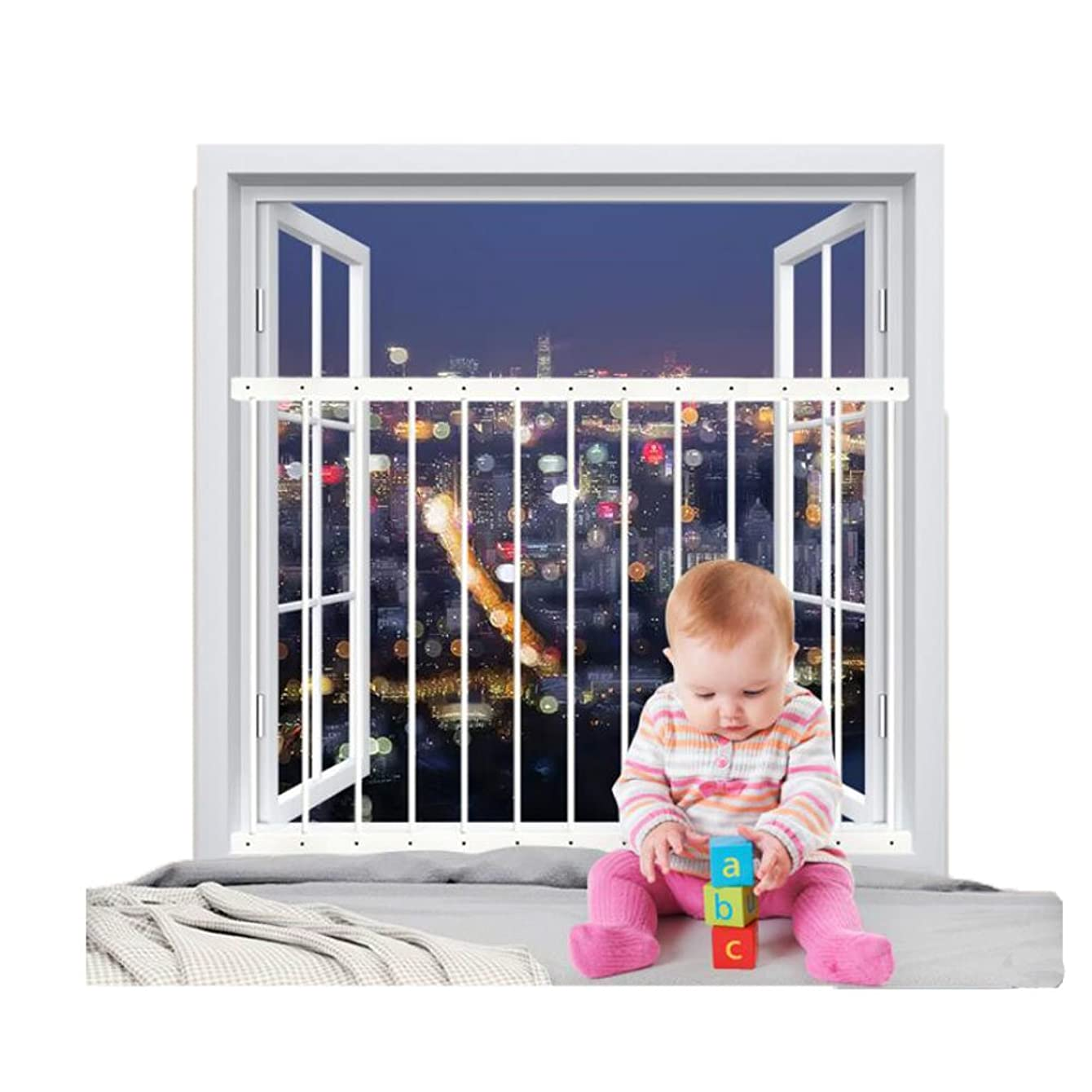 Fairy Baby Window Guards for Children Hole-Free Installation Todder Safety Window Gate Bars White,36.22