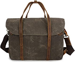 Canvas Men's Briefcase Tote Shoulder Bag Messenger Bag 37 * 12 * H27CM Reasonable Layout Dynamic (Color : Green)