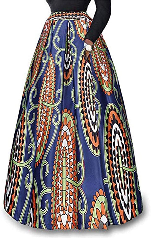 8825  Plus Size Ethnic African Print Long Maxi Skirt bluee orange