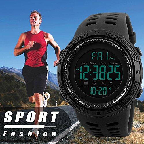 Herren Digital Sport Uhren – Outdoor wasserdichte Armbanduhr mit Wecker Chronograph und Countdown Uhr, LED Licht Gummi Schwarz große Anzeige Digitaluhrenfür Herren - 6