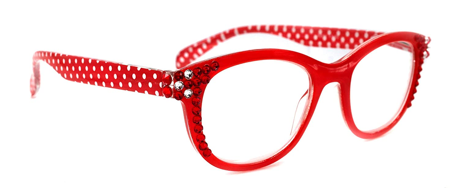 excellence Lucy Polka Dot Round Bling Women Adorned Hem w Ranking TOP17 Reading Glasses