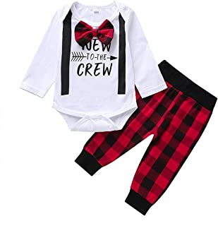 Cecobora Newborn Baby Boys Girls Wild One Printed Outfits Long Sleeve T-Shirt Top with Buffalo Plaid Pant