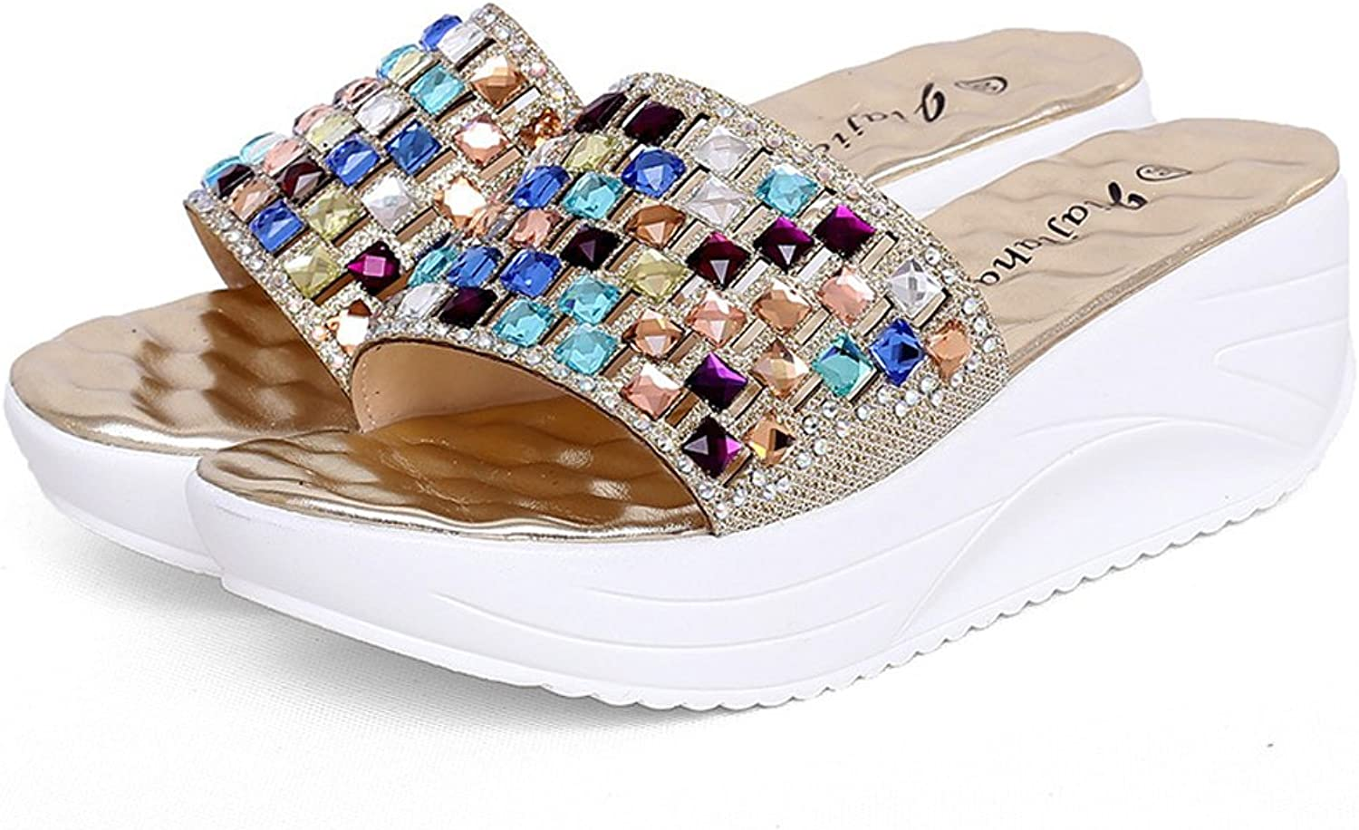 Navoku Womens Leather Jeweled Summer Wedge Sandals