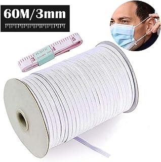 Cuerda Elastica Blanco Goma Elastica Costura Cinta Elastica para Costura Y Manualidades DIY Cordon Elastico Costura (60 Metros, 3mm)