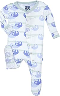 KicKee Pants Little Girls Print Footie- Natural Sloth, 12-18 Months