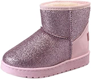 Fulision Women's Snow Boots Winter Glitter Bling Snow Boots Thick Fur Warm Flat Platform Cotton Sequined Cloth Ankle Boots Winter Shoes