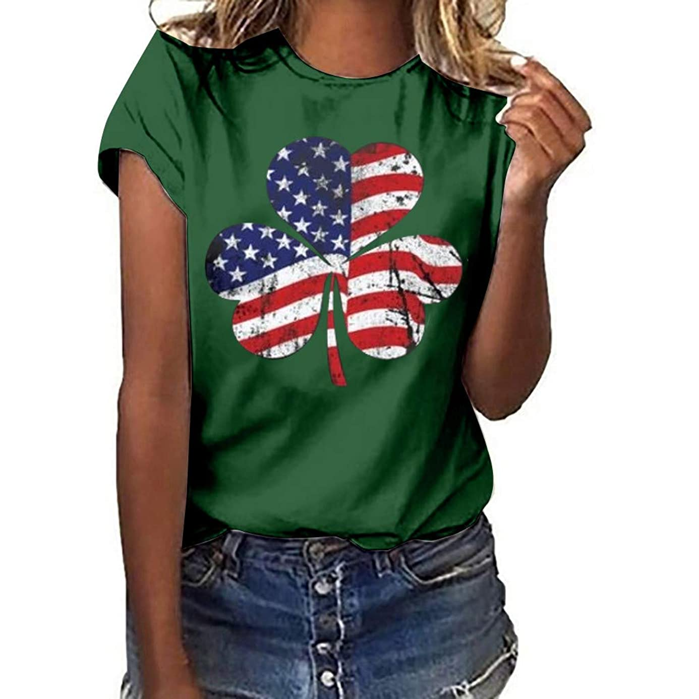 Pongfunsy Women Summer T-Shirt Teens Girls Plus Size Tops Casual Clover Independence Day Print Short Sleeve Blouse T