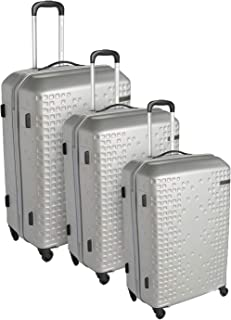 American Tourister Luggage Trolley Bags 3 Pieces, Silver, An625004-Silver, Unisex