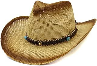 SHENTIANWEI Fashion Summen Sun Hat Spray Paint Straw Cowboy Hat Outdoor Sun Hat Leather Braid With Turquoise Beach Hat