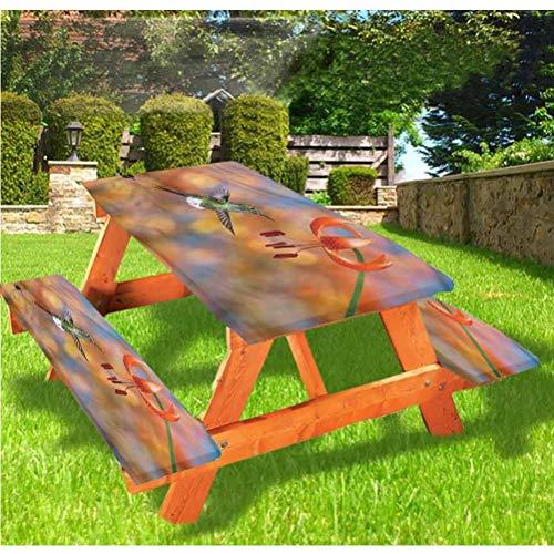 LEWIS FRANKLIN - Cortina de ducha con colibrí de lujo, cubierta de mesa de picnic, Raqueta cola, néctar de lirio, con borde elástico, 28 x 72 pulgadas, juego de 3 piezas para mesa plegable
