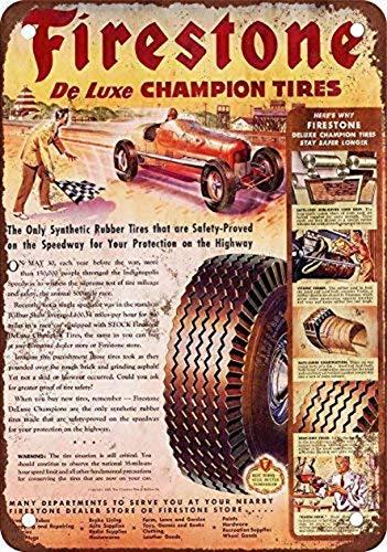 Odeletqweenry Tin Sign, Firestone De Luxe Champion Banden Vintage Look Reproductie Metalen Tin Teken 8