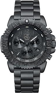 ساعة يد لومينكس نافي سيل ستيل كرونوغراف اللون سلسلة 3180، أسود، قرص أبيض وسوار من الصلب أسود XS.3182.BO.L