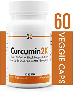 Curcumin2K Formula with BioPerine Black Pepper Extract for Up to 2000% Greater Absorption - Stop Aging Now - 60 Veggie Caps