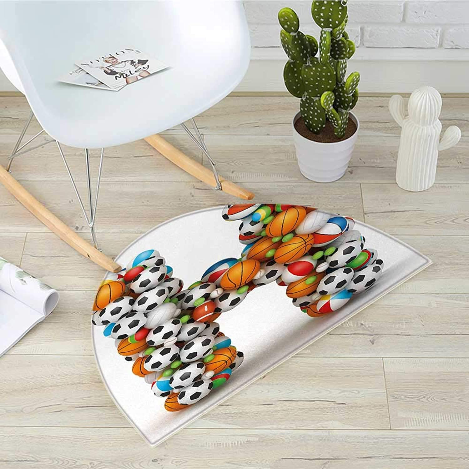 Letter H Semicircular CushionLetter H Stacked from Gaming Balls Alphabet of Sports Theme Competition Activity Entry Door Mat H 35.4  xD 53.1  Multicolor
