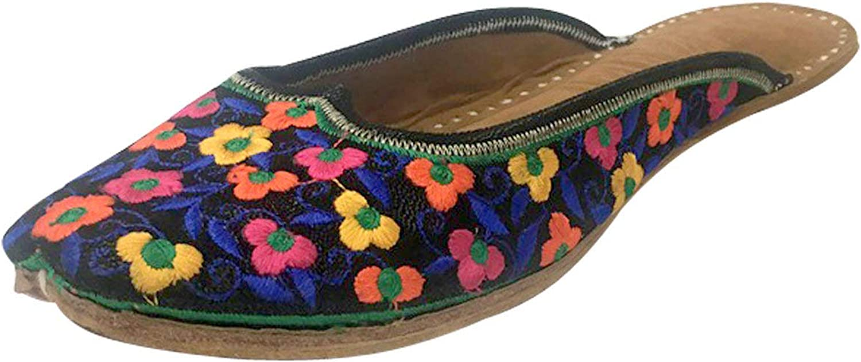 Step n Style Women's Leather Flat Ballet Flip Flop shoes Back Open Punjabi Jutti Joti