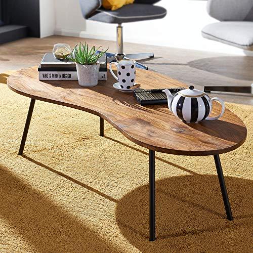 Design Couchtisch 122x36x63 cm Sheesham mit Metallbeinen Schwarz Nierentisch Massivholz Grau Holztisch Tischbeine Metall Cooler Massivholztisch Tisch Flach Modern Braun