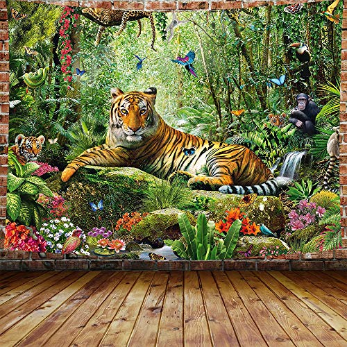 DBLLF King of The Forest Tiger Tapestry Forest Animal Wall Hanging Tropical Rainforest Landscape,Queen Size 80'x60' Flannel Art Tapestries,for Living Room Dorm Bedroom Home DBLS800
