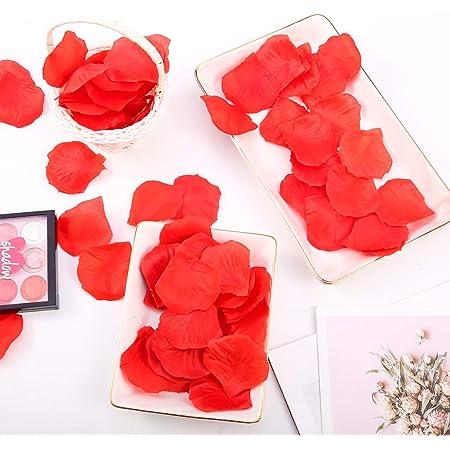 falllea 5000 Piezas de Petalos de Flores Artificiales Petalos de Rosa Rojas Confeti de Rosa Artificial Romántica Petalos de Rosa para Bodas Decoración Día de San Valentín Proponer Flores de Boda