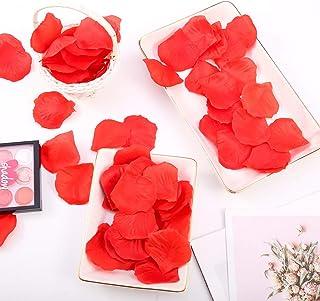 falllea 5000 Piezas de Petalos de Flores Artificiales Petalos de Rosa Rojas Confeti de Rosa Artificial Romántica Petalos d...