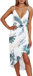 Women's Wrap V Neck Spaghetti Strap Floral Split Beach Casual Dress