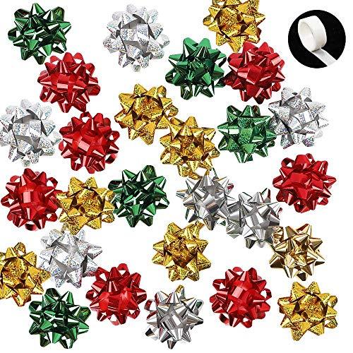 Christmas Bows 3.5'' Bows 40pcs Metallic Self Adhesive Wrap Bows for Christmas Decoration