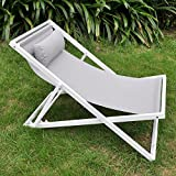 Jardín, silla con reposacabezas, ajustable Floding playa Sling silla, jardín tumbona...