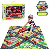 TEMI Diecast Emergency Fire Rescue Vehicle Toy Set w/ Play Mat, Truck Carrier, Water Cannon Vehicle, Medical...
