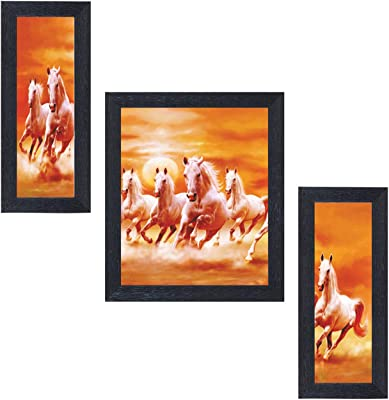 Amazon Brand - Solimo Racing Horses Painting with Frame, Set of 3