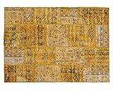 Sukhi Zehra: Diseñador Patchwork Alfombra Hecha a Mano Amarilla de Antiguas Alfombras Vintage (170cm x 240cm / 5' 6.9'' x 7' 10.4'')