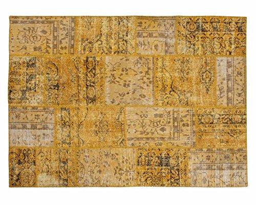 Sukhi Zehra: Diseñador Patchwork Alfombra Hecha a Mano Amarilla de Antiguas Alfombras Vintage (80cm x 100cm / 2' 7.5'' x 3' 3.4'')