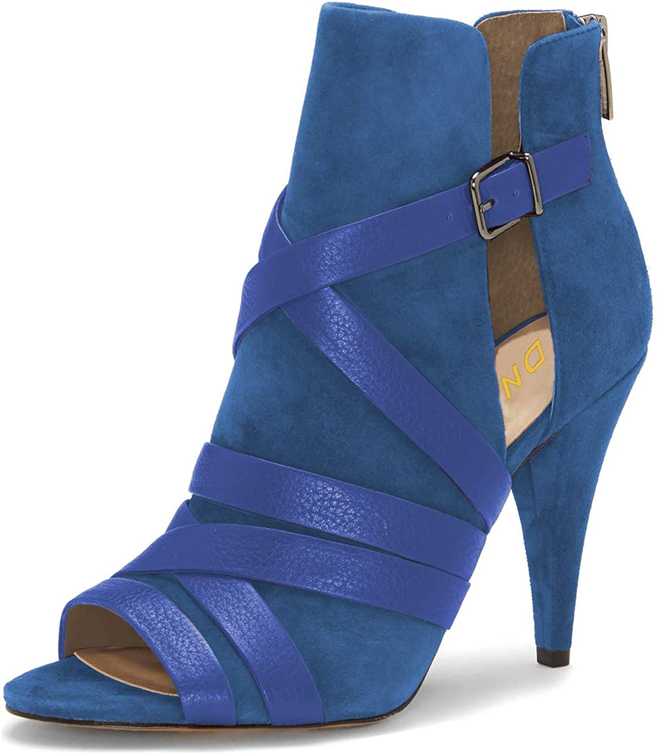 YDN Women Peep Toe Cone High Heel Booties Pumps Cutout Buckle Dress shoes for Party
